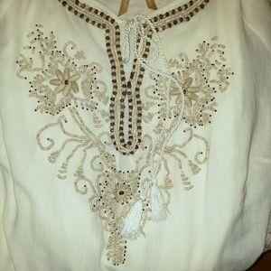 Avenue Premiere Boho Peasant beaded blouse 14/16